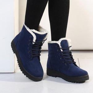 Shoes - Women Platform Furry Ankle Boots - Blue